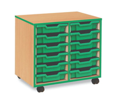12 Shallow Tray Coloured Edge Storage Unit