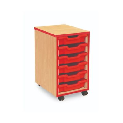 6 Shallow Tray Coloured Edge Storage Unit