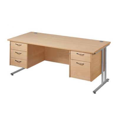 Berkeley Deluxe Cantilever Frame Double Pedestal Desk