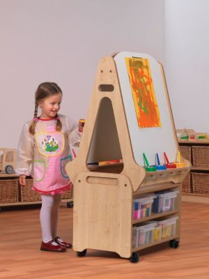 Millhouse Double Sided Whiteboard Easel with Storage Trolley
