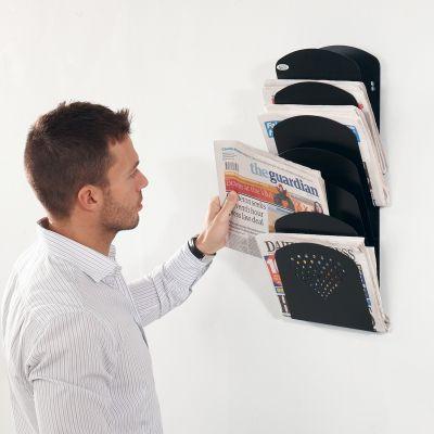 Steel 7 pocket wall mounted rack
