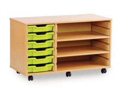6 Shallow Tray Storage Unit with 2 Adjustable Shelves