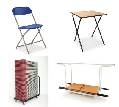 Pack 9 (40 Exam Desks, 1 Trolley & 40 Flat Back Chairs & Trolley)