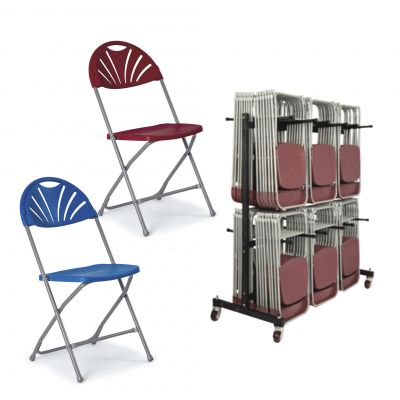 Pack 6 ( Fold Flat Fan Back Chairs & Trolley)