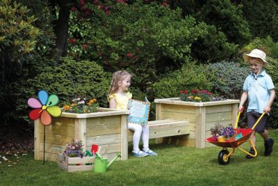 Millhouse Outdoor Bench with Planters