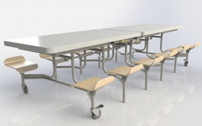 Spaceright Primo Rectangular Mobile Canteen Folding Table