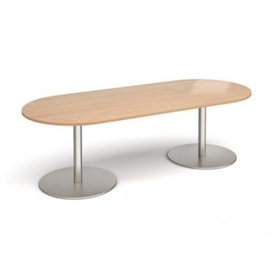 Radial End Meeting Table on Twin Pedestal Base