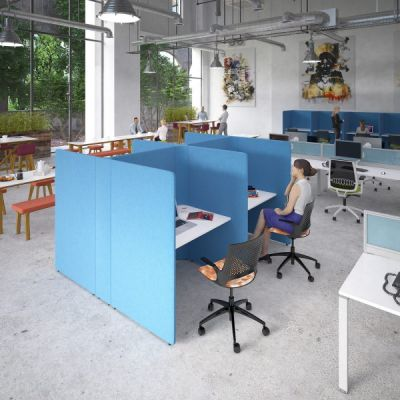Soli Low and High Screen Square Work Booth / Privacy Hub