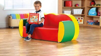 3 Seat Block Colour Sofa- Wipe Clean Vinyl