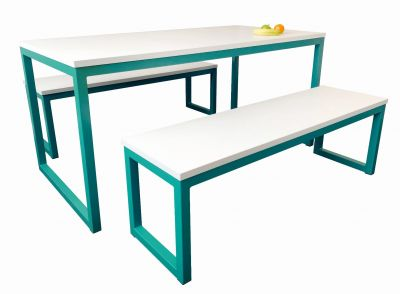 Colour Frame Dining Table and Benches