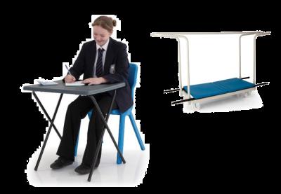Package 16  (25x or 40x Titan Exam Desks & 1x Trolley)